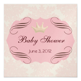 Pink Damask with Pink Darling Frames 13 Cm X 13 Cm Square Invitation Card