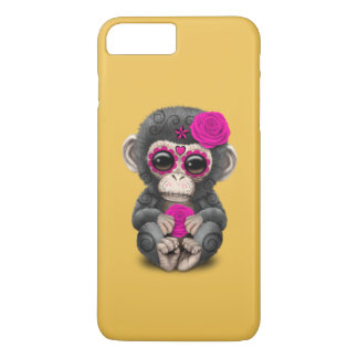 Pink Day of the Dead Sugar Skull Baby Chimp iPhone 7 Plus Case