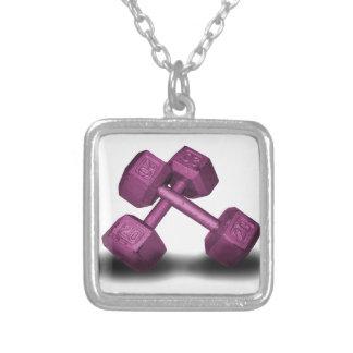 Pink Dumbbells Merchandise Square Pendant Necklace