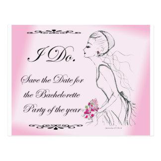 Pink elegant Bachelorette Party Design Postcard