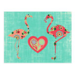 Pink Flamingo Love Postcard