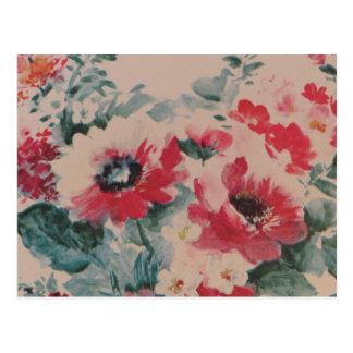 Pink Floral Vintage Pattern Postcards