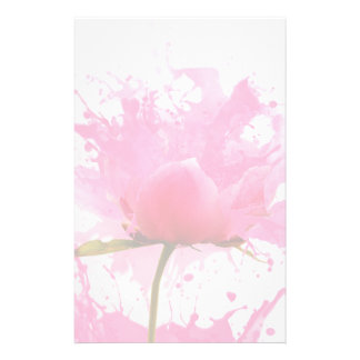 Pink Flower Abstract Paint Splatter Stationery
