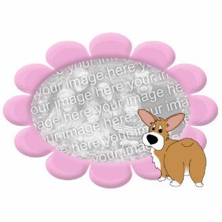 Pink Flower Corgi Photo Frame Photo Sculpture Magnet