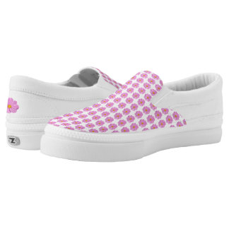 Pink Flower Slip on Shoes. Printed Shoes