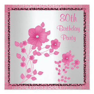 Pink Flowers & Lace 80th Birthday Party 13 Cm X 13 Cm Square Invitation Card
