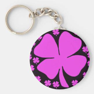 Pink Four Leaf clover Irish design Basic Round Button Key Ring