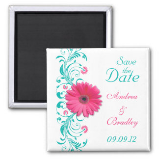 Pink Gerbera Daisy Turquoise Floral Save the Date Square Magnet