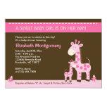 Pink Giraffe Mummy and Baby Girl Shower Invitation