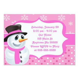 Pink Girl Snowman Birthday Invitation