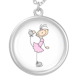Pink Girl Stick Figure Ice Skater Round Pendant Necklace