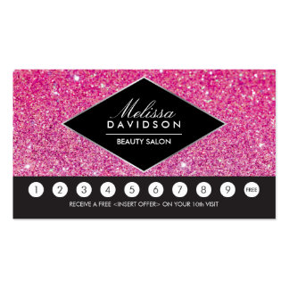 Pink Glitter and Glamour Salon Loyalty Card Pack Of Standard Business Cards