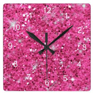 Pink Glitter Pattern ID144 Clocks