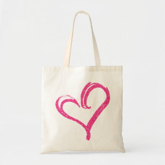 Pink Glitter PRINT Modern Wedding Love Heart Tote Budget Tote Bag