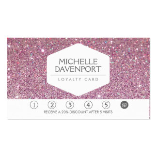 PINK GLITTER Salon Loyalty Card Pack Of Standard Business Cards
