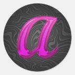 Pink Glittery Initial - A Round Sticker