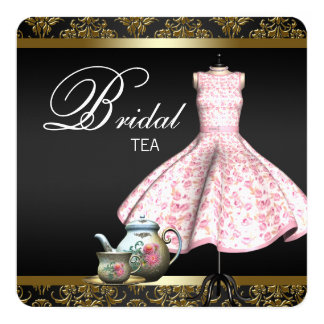 Pink Gold and Black Damask Bridal Tea Party 13 Cm X 13 Cm Square Invitation Card