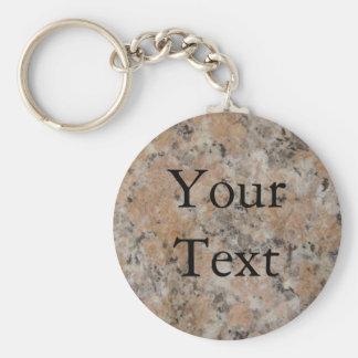 Pink Granite Basic Round Button Key Ring