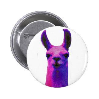 Pink Graphic Llama 6 Cm Round Badge