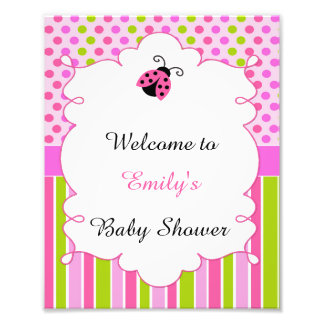 Pink Green Little Ladybug Welcome Party Sign Photographic Print