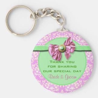 "Pink green wedding ""thank you"" theme basic round button key ring"