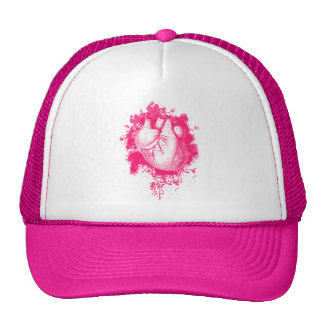 Pink Heart Splatter Cap