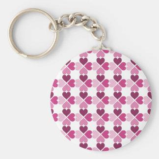 Pink Hearts Pattern Basic Round Button Key Ring