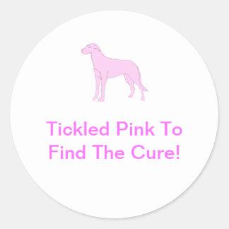 Pink Irish Wolfhound Round Sticker