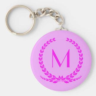 Pink ivy leaf circle custom monogram keychain