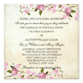 Pink Japanese Cherry Blossoms Wedding 13 Cm X 13 Cm Square Invitation Card