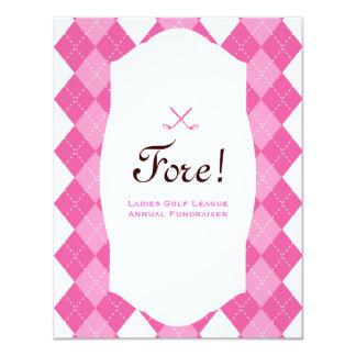 Pink Ladies Golf Party Argyle 11 Cm X 14 Cm Invitation Card