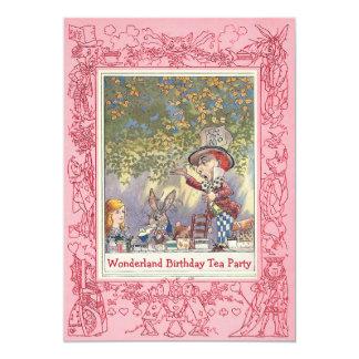 Pink Mad Hatter's Wonderland Birthday Tea Party 13 Cm X 18 Cm Invitation Card
