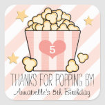 Pink Movie Popcorn Thank You Birthday Party Favour Square Sticker