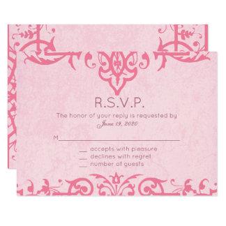 Pink Ornate Wedding, Response Cards 9 Cm X 13 Cm Invitation Card
