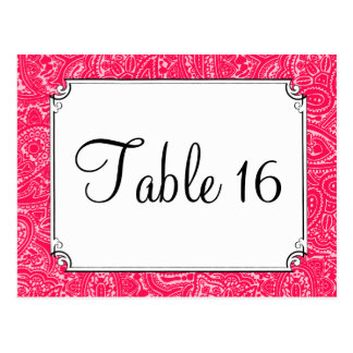 Pink Paisley Wedding Reception Table Numbers Postcard