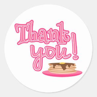 Pink Pancakes Thank You Round Sticker