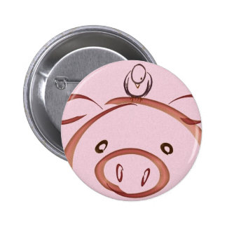 Pink pig with bird drawing 6 cm round badge