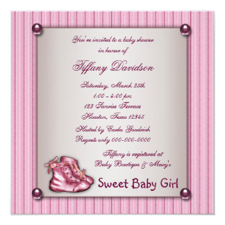 Pink Pinstripe Pink Booties Vintage Baby Girl 13 Cm X 13 Cm Square Invitation Card