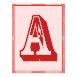 """Pink Plaid Letter """"A"""" Typography Banner Card Postcard"""