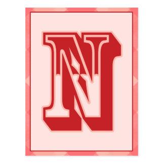 "Pink Plaid Letter ""N"" Typography Banner Card Postcard"