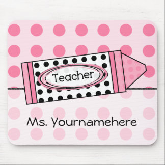 Pink Polka Dot Crayon Teacher Mousepad