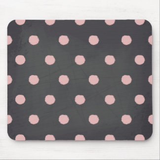 Pink Polka Dots Chalkboard Style Pattern Mouse Pad