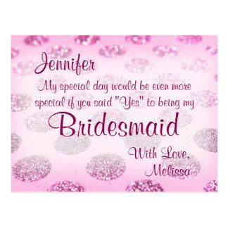 Pink Polka Dots   Will You Be My Bridesmaid? Postcard