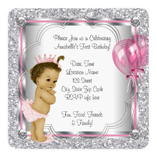 Pink Princess 1st Birthday Party 13 Cm X 13 Cm Square Invitation Card