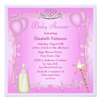 Pink Princess Baby Bottle & Balloons Baby Shower 13 Cm X 13 Cm Square Invitation Card