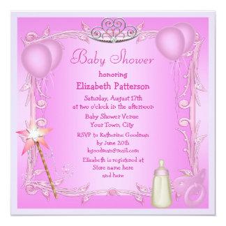 Pink Princess Baby Dummy & Bottle Baby Shower 13 Cm X 13 Cm Square Invitation Card