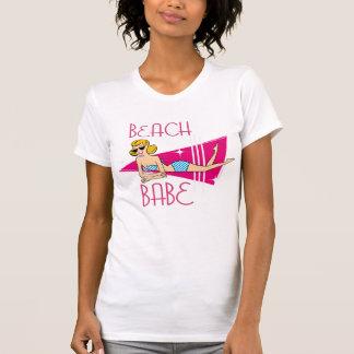Pink Retro Beach Babe T Shirt
