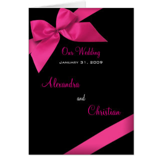 Pink Ribbon Wedding Invitation Announcement Card