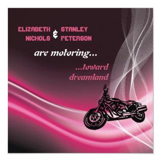 Pink road motorcycle biker wedding 13 cm x 13 cm square invitation card