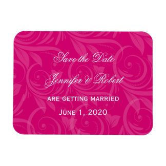 Pink Rose Graphic Wedding Save the Date Rectangular Photo Magnet